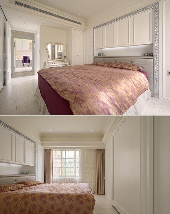 主卧面积较大,床头柜设计增加了收纳的同时,平时一些物品也可以随手放置在上面方便拿取。