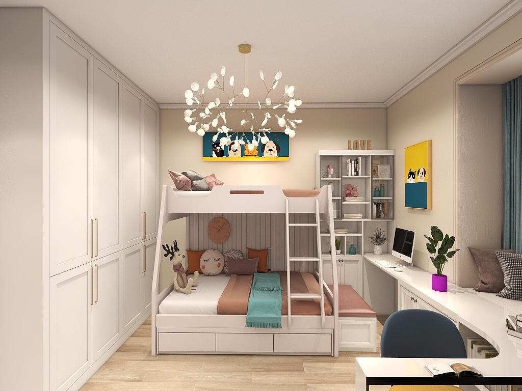 配套的上下床体现业主节省面积的态度,空间动线布局合理,风格简洁。
