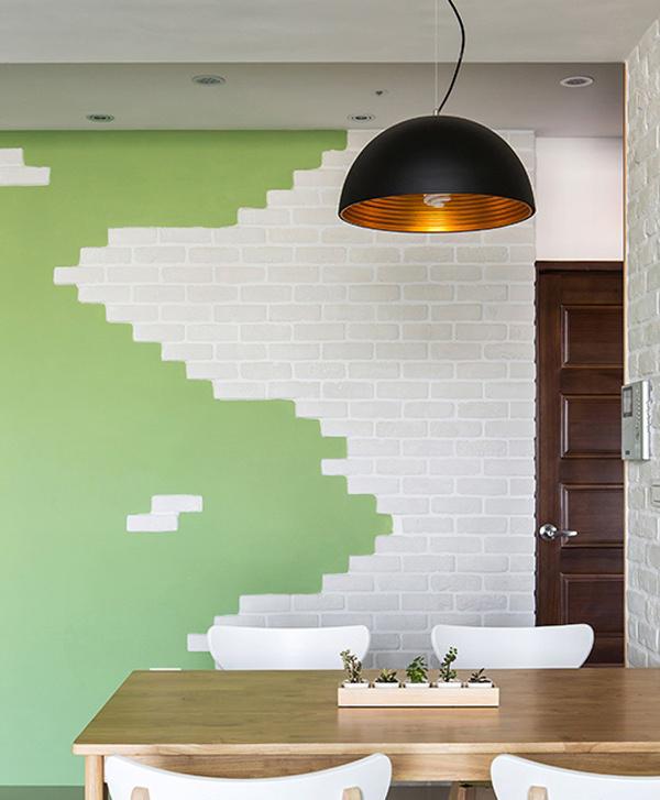 利用异材质与不同的色调做墙面表情,完美混搭出视觉的惊喜与美感。