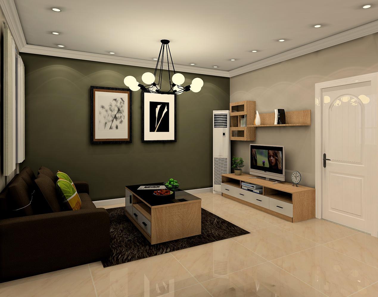 客厅由深至浅的组合很有新意,深色的沙发更适合放松小憩,浅色的电视背景墙增加了视野的开阔性。