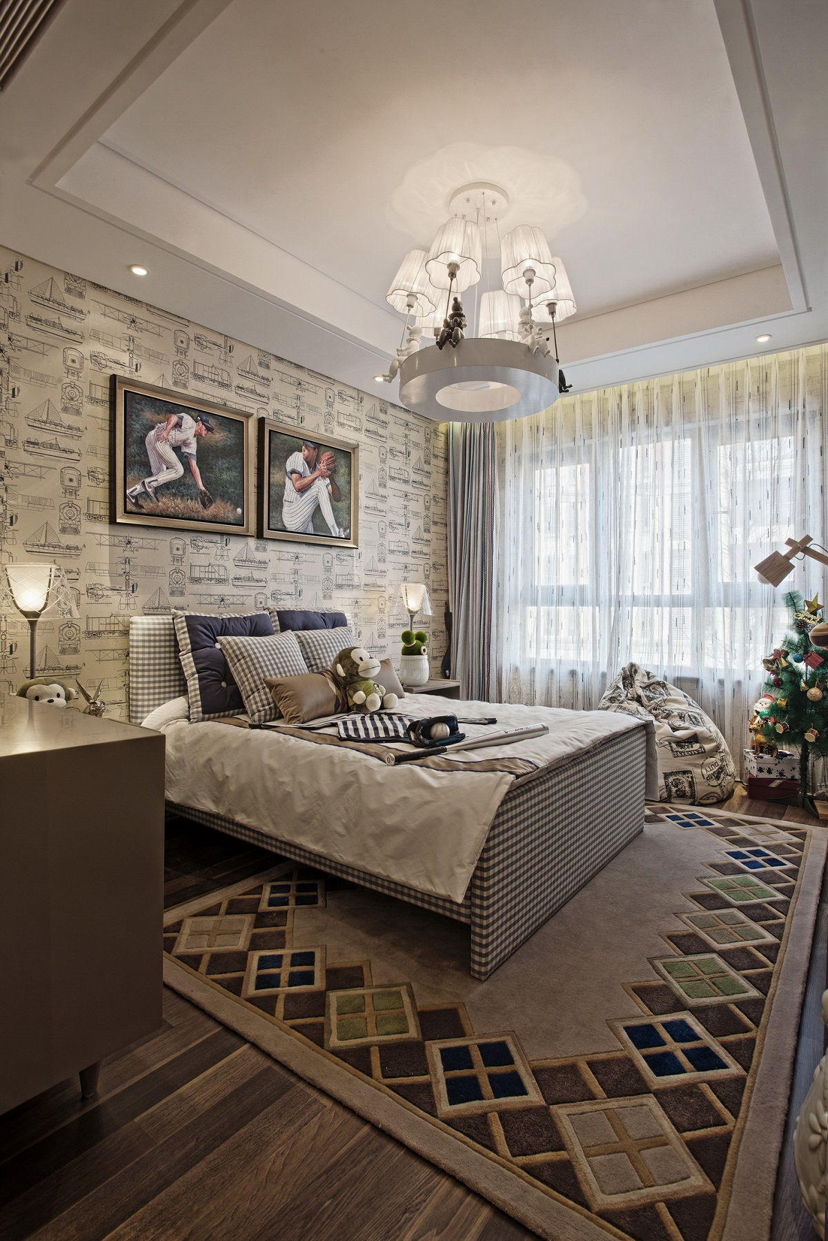 次卧设计为儿童房,床头背景墙装饰显得很有文化气息。