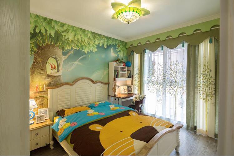 儿童房很是欢快,床的背景墙很是欢块,绿植的窗帘很是别具一格