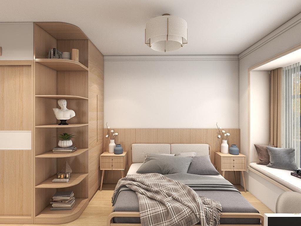 主卧的设计给人以淡雅悠然的感受,配上胡桃木色系的衣柜,彰显端庄。