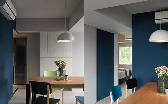 整体空间的线条简洁俐落,并以机能、形式、色彩及材质来形塑空间表情。