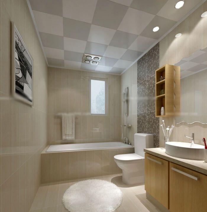 卫生间以瓷砖铺贴设计,使整个空间的视觉效果得到了甚好的节约。