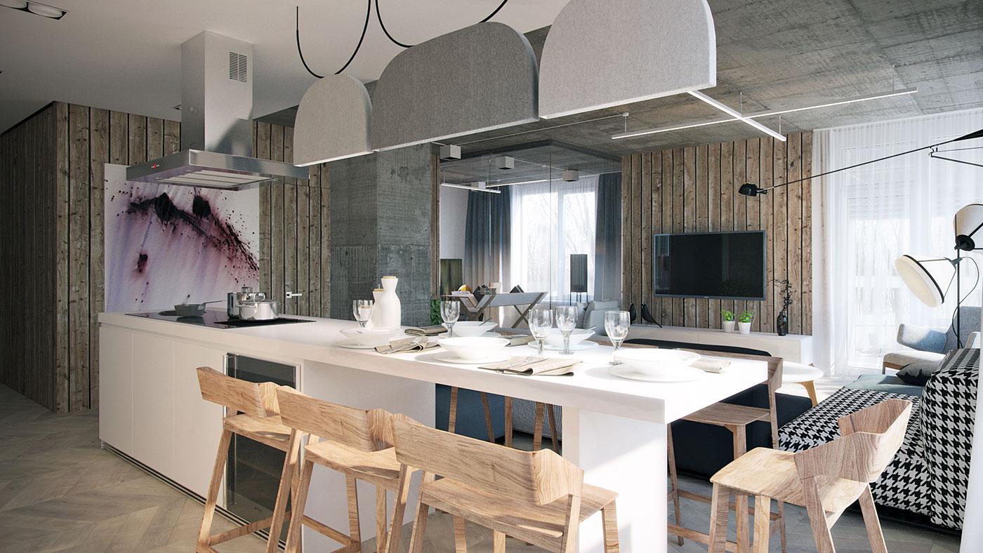 厨房处做的比较别致,木质餐椅格外突出生活的情调。
