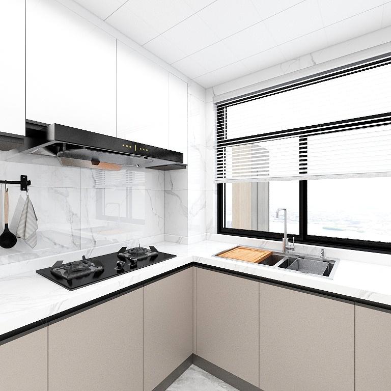 米色櫥柜與白色吊柜分層設計,將局部視野進行擴建拉伸,使廚房空間無論從采光和空間上都得以優化。