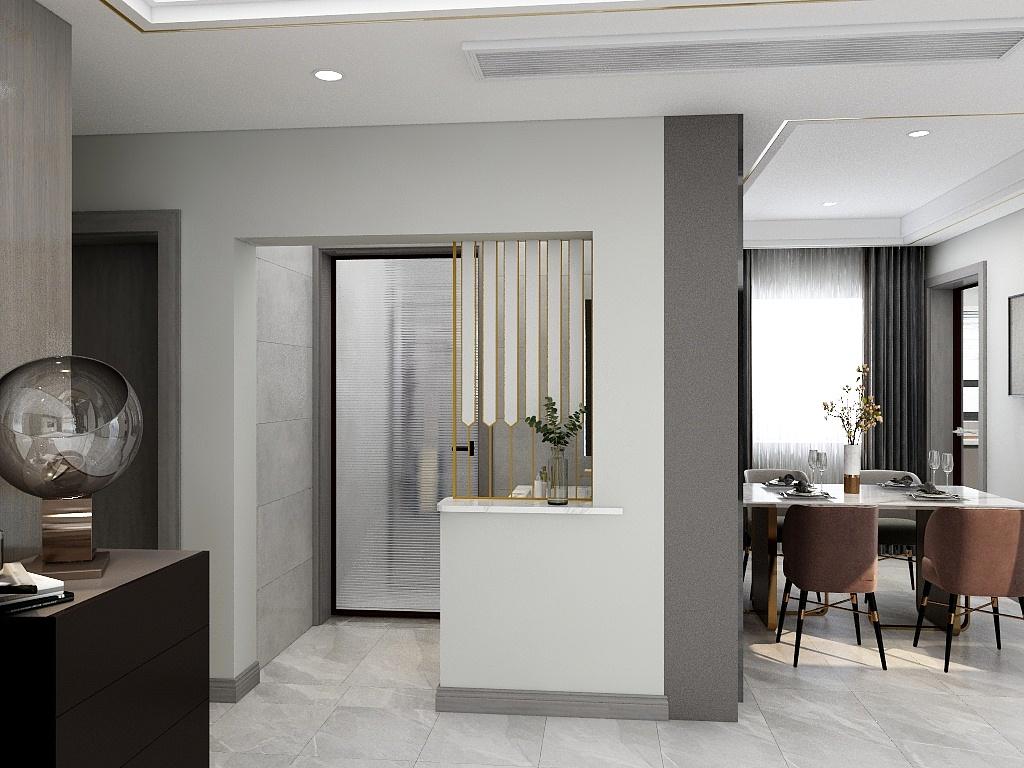 餐厅分区显著,白色餐桌搭配暖色餐椅,营造出一个轻松的用餐氛围。