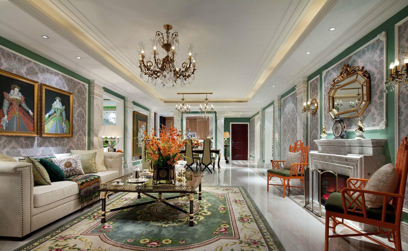 放眼客厅美观时尚大气,空间主要以米色和浅灰色为主,加入蓝色和橙色系等呈现时尚之美。