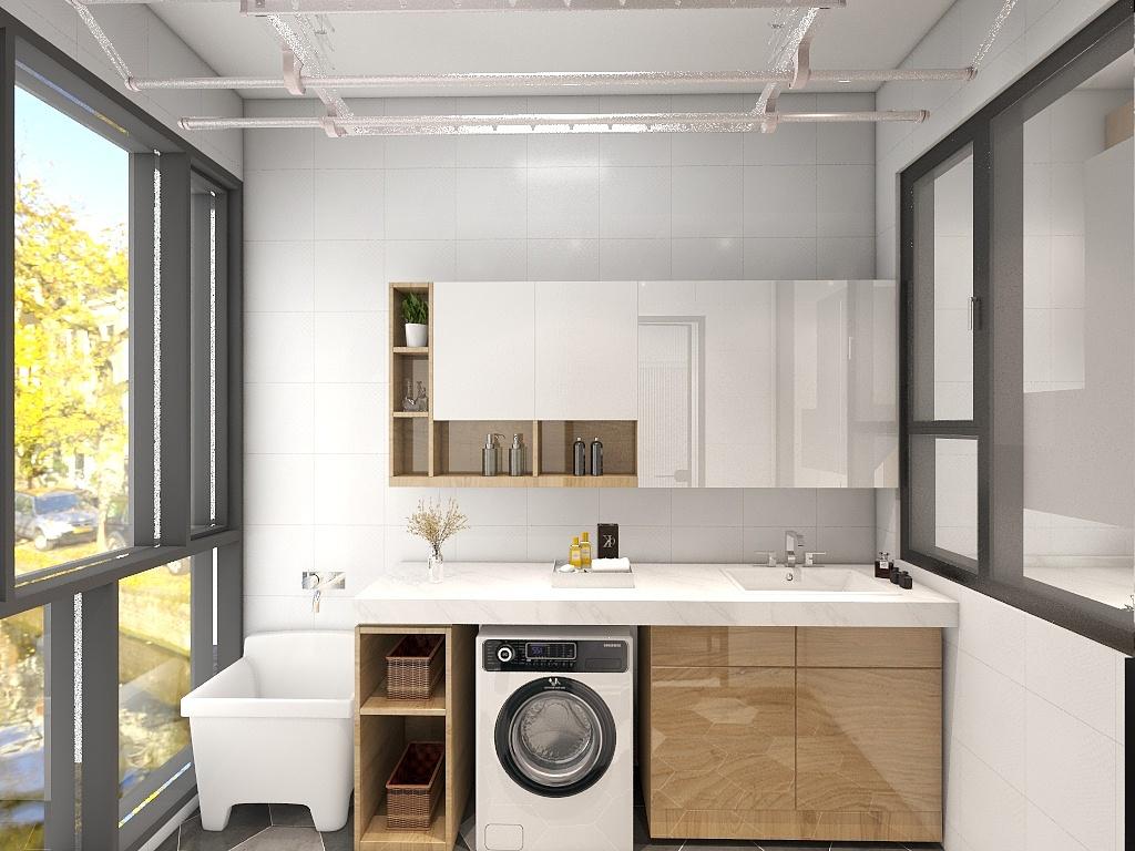 卫浴空间使用玻璃进行干湿分离,局部打造壁龛,增强了室内的收纳能力。
