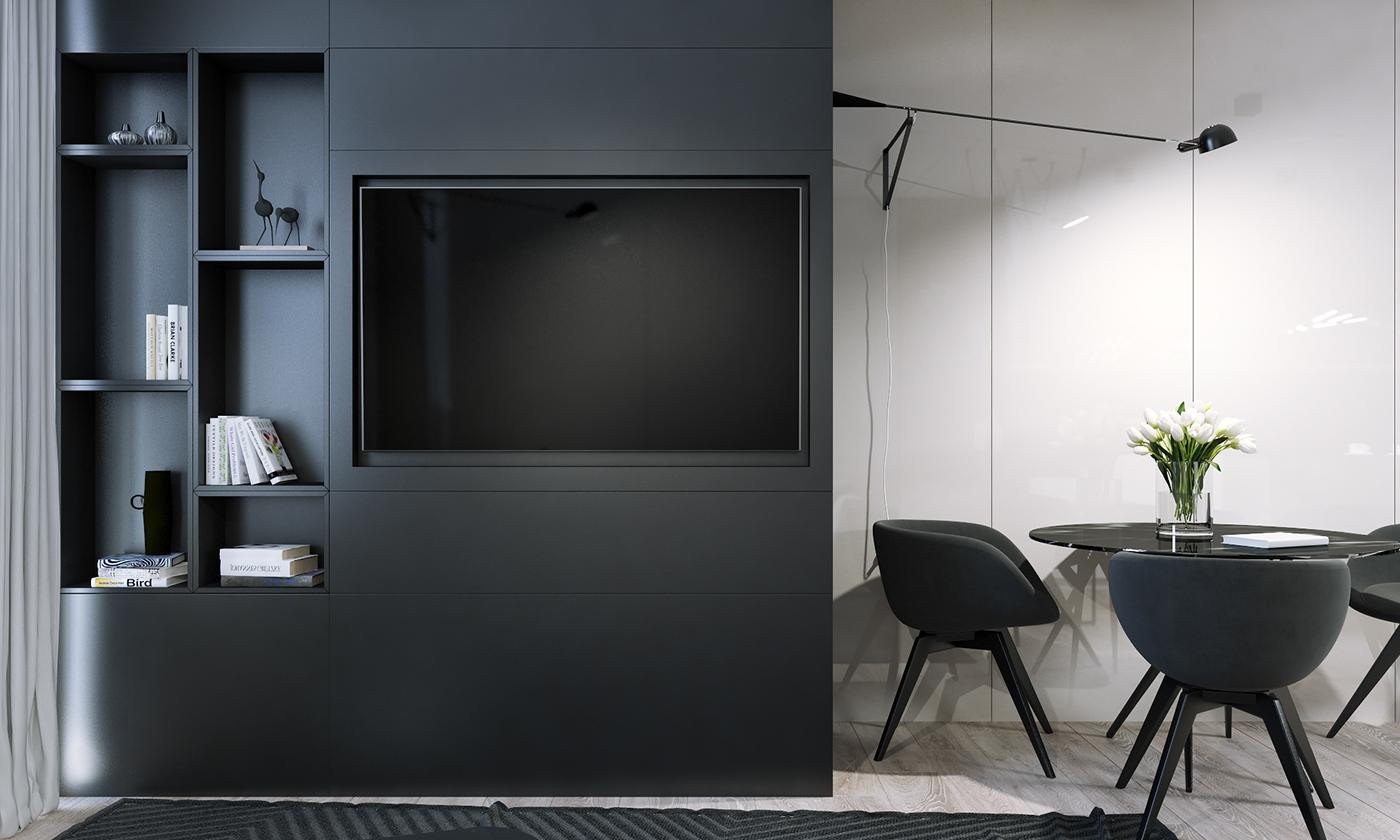 客厅整个色调简单大方,镶嵌式的电视柜,侧边是做了嵌入式的收纳,刚好摆放一些书籍