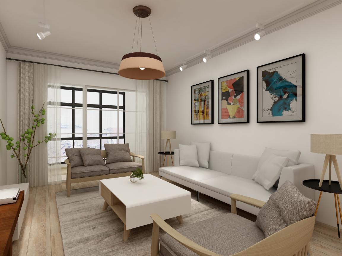 在客厅,沙发背景墙上有业主精心挑选的装饰画、两侧是纤细的三角边桌,在简约自然的风格上,增添艺术气息。