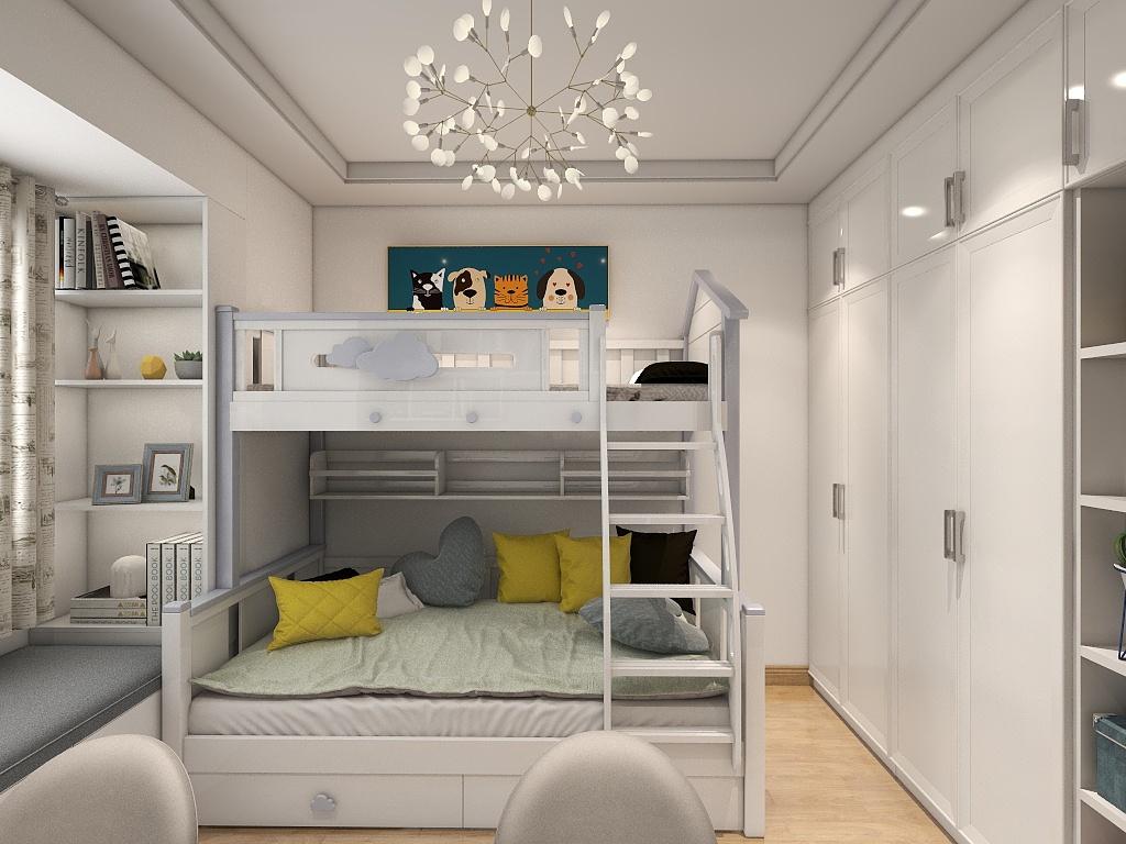 儿童房的色彩以白色为主,巧妙的挂画、个性的灯饰营造着空间童趣韵味。
