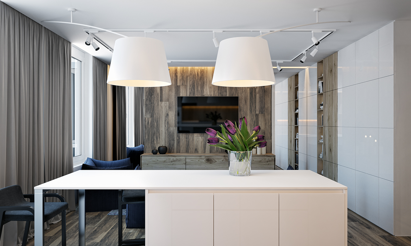 这个角度可以清晰的看到客厅,餐厅厨房都是一个空间,不仅不会显得空间拥挤,而且很宽敞