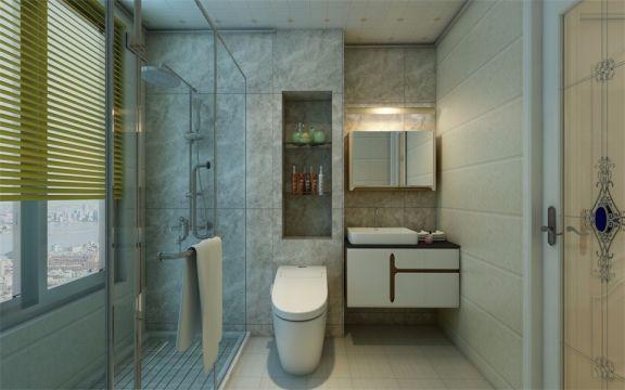卫生间比较宽敞,透明玻璃门让视野更开阔,地板设计了防滑,为居住人打造了一个非常安全舒心的生活环境。