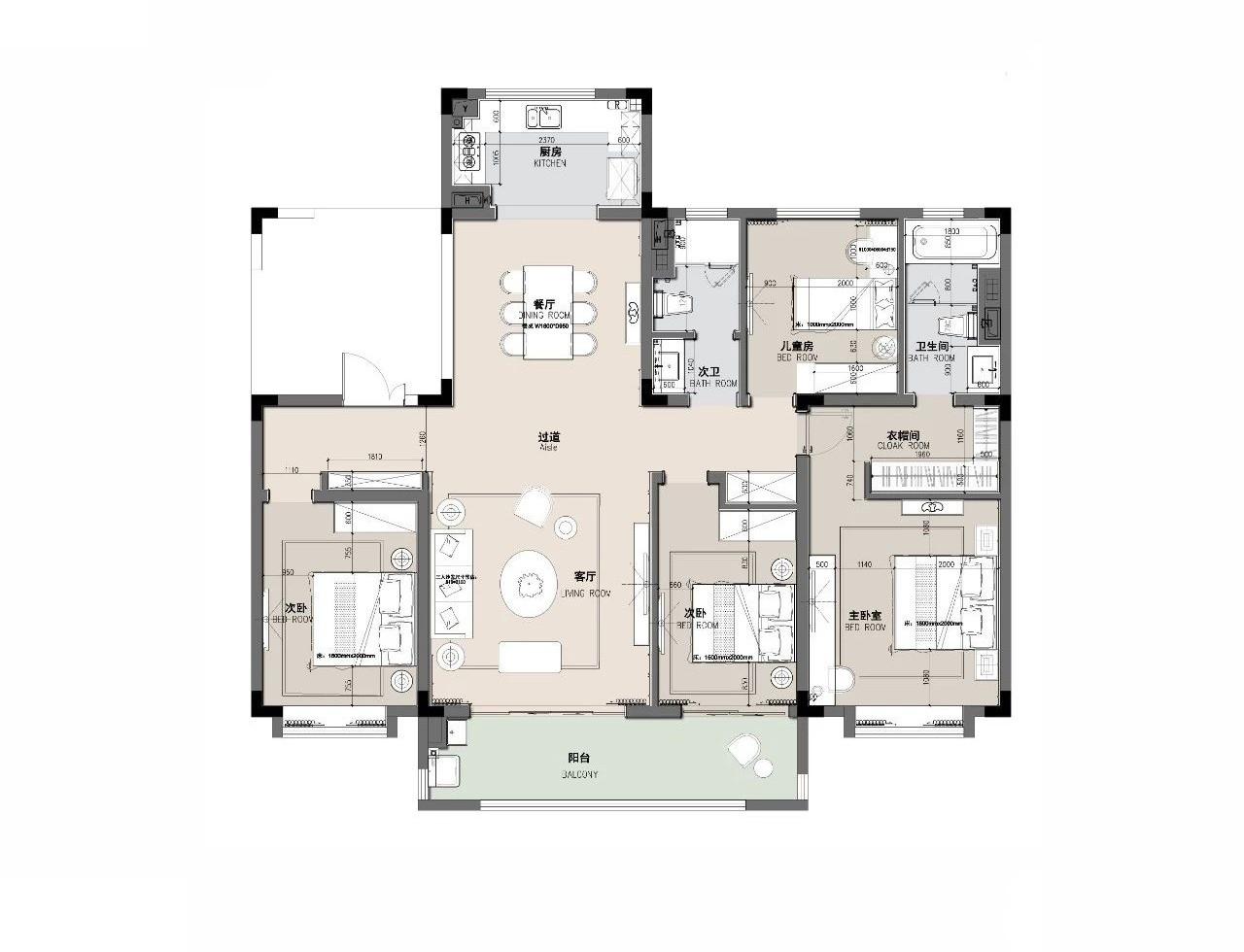 户型方正,两厅相连,空间视觉上更开扬,室内南北通透,清风阳光怡然入屋。