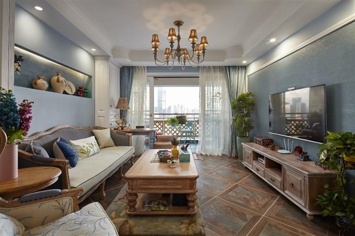美式的家具,还配着蓝色的硬装着调。需要说明的是相比于纯白的硬装,这种混搭的效果,让美式的格调更加自然