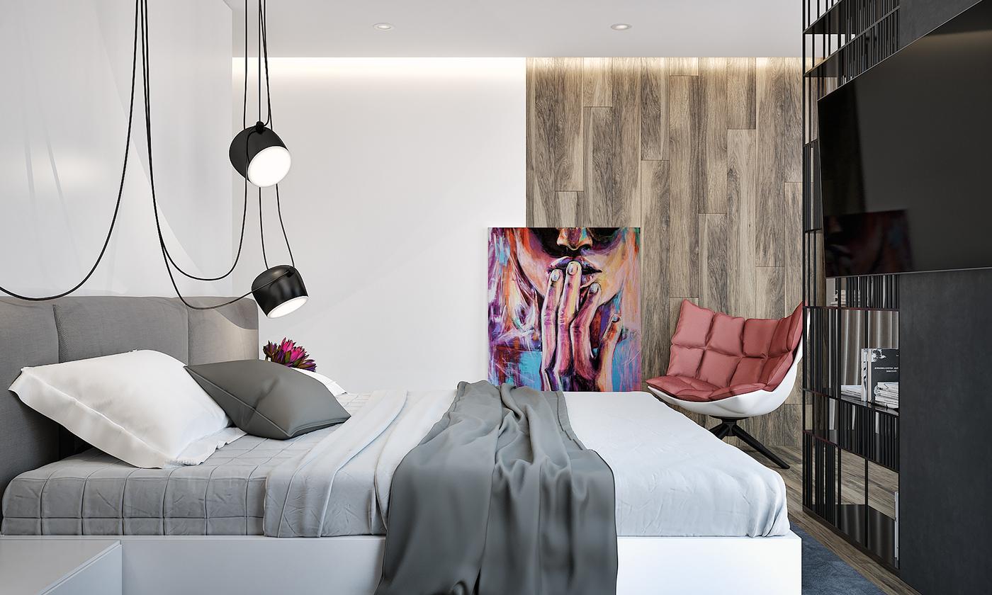 空间的限制,卧室是开放式的,看着有格局,有品位。很高端。