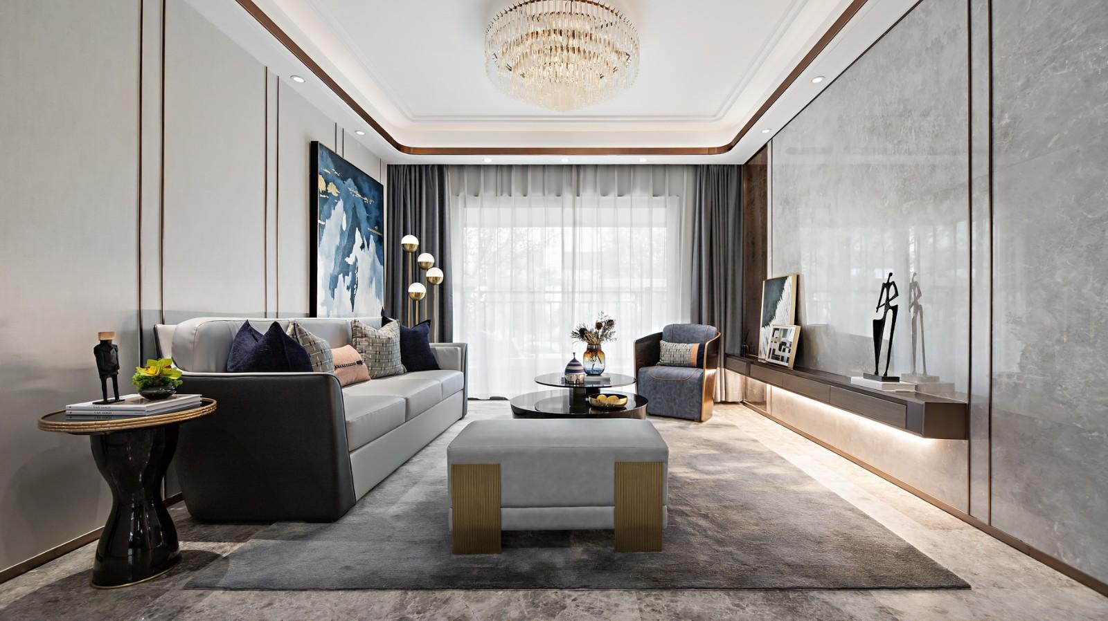 整个空间主要以黑白灰为主,以蓝色来点缀,优雅轻奢有质感。吊顶、墙面加以线条进行勾勒,柔和感尽绽放。