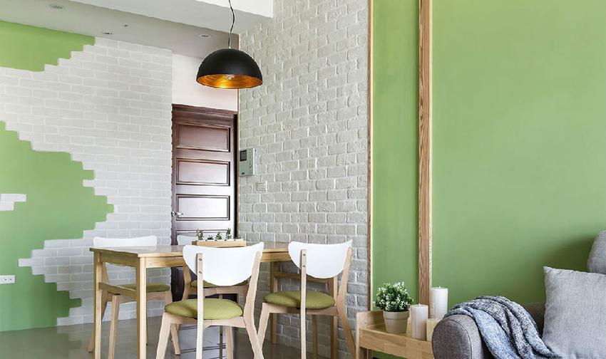 将北欧风元素配上喜爱的色调,利用绿色、白色与木质色为视觉配色,让空间融入宜人的舒适感。