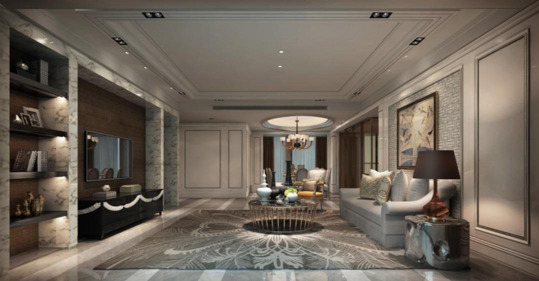 客厅色彩层次分明,照明柔软舒适,护墙板与地砖色感保持一致,空间中式情怀浓郁。