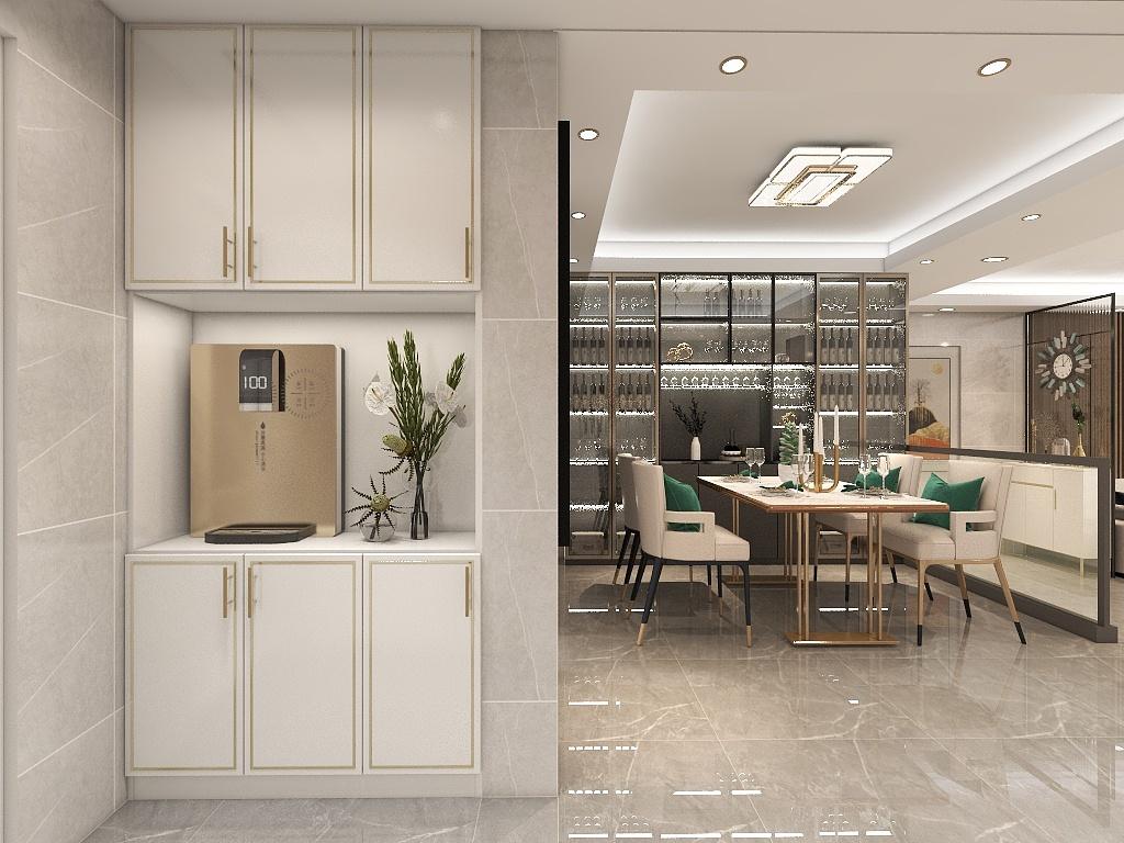 暖色系餐厅空间,气氛明暖,搭配四张软座餐椅,让餐厅更具现代时尚美。