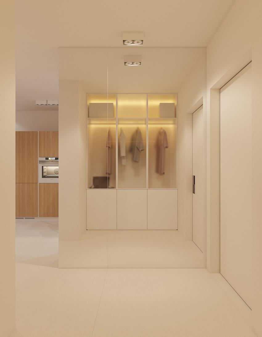 将衣柜保持在开放状态的设计能保持衣柜的收纳,嵌入照明将其变成一个别致的焦点。