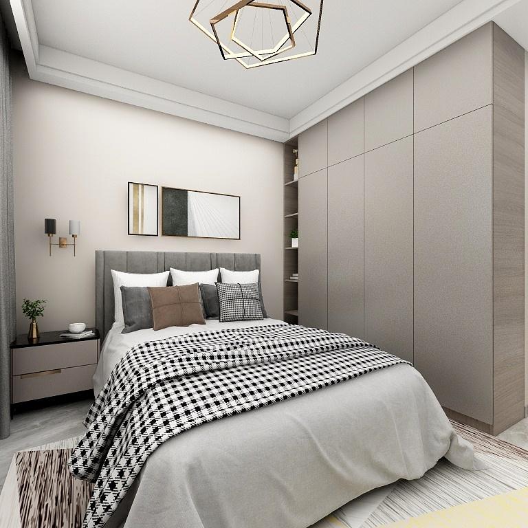 軟包床的選擇結合大理石地板運用,搭配柔和的床品設計,增強了空間的舒適感。