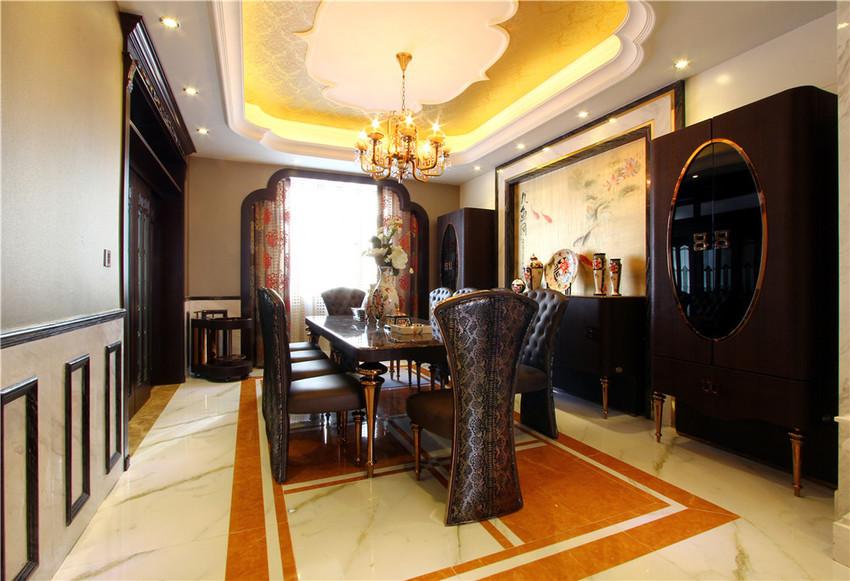 餐厅并没有选择传统中国风的圆桌方案,而是选择了偏欧式的餐桌椅.