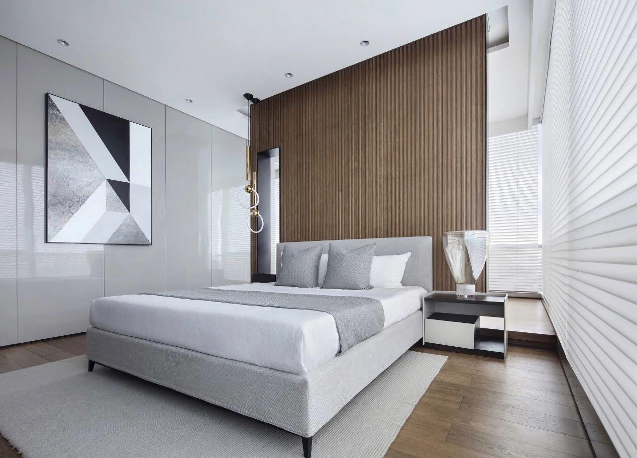 側臥設計讓空間顯得簡約舒適,獨特的背景設計營造出一絲樸質氛圍。
