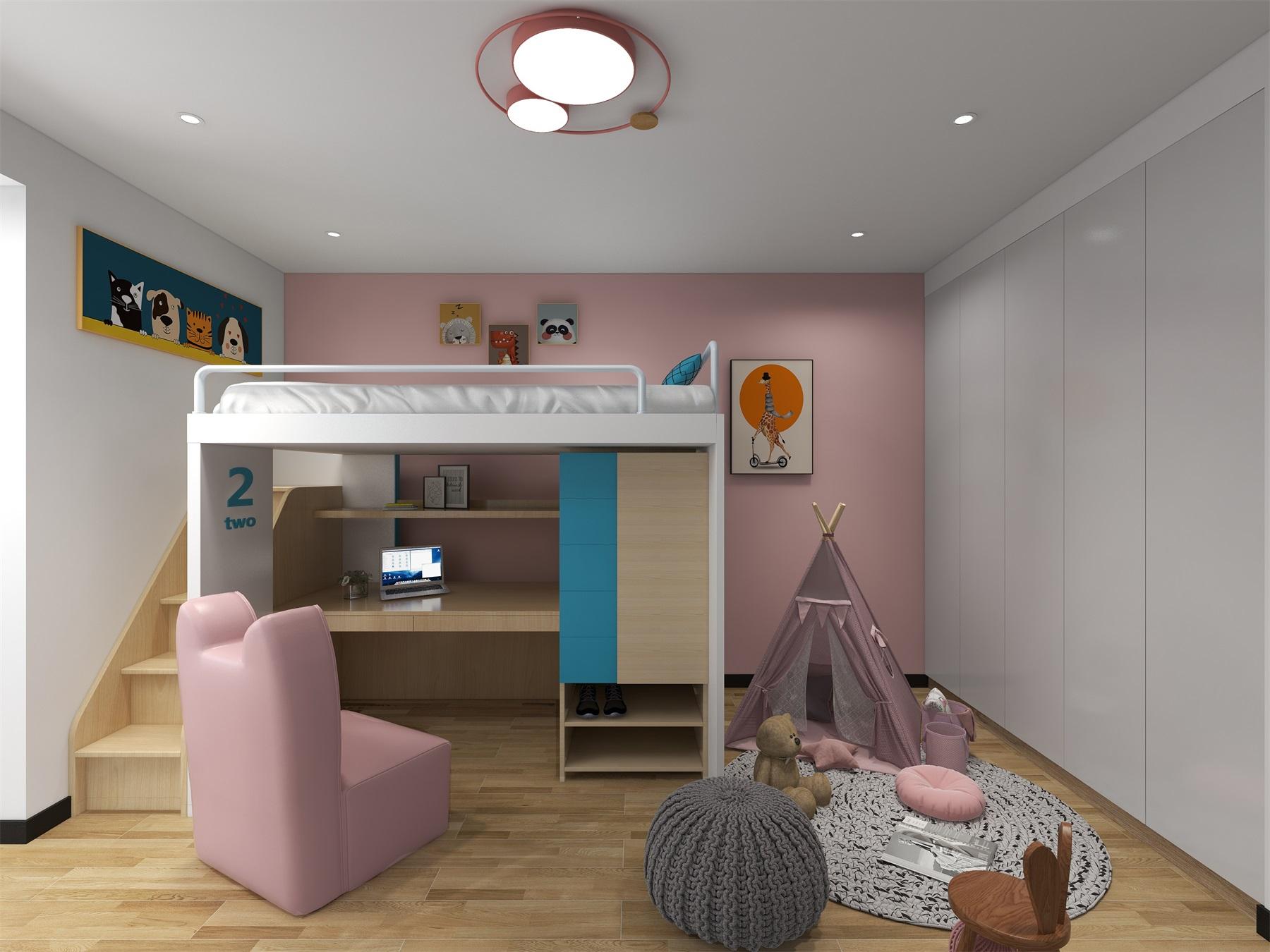 兒童房配色鮮明,高低床的使用、童趣軟裝融入,都表現出溫軟有質感的童趣空間。