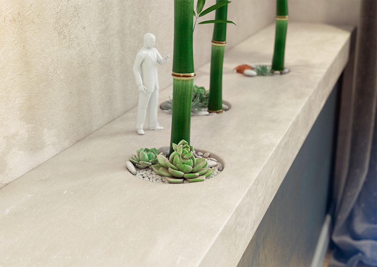 卧室摆放了竹子更好的点缀了绿色环保空气净化的意境
