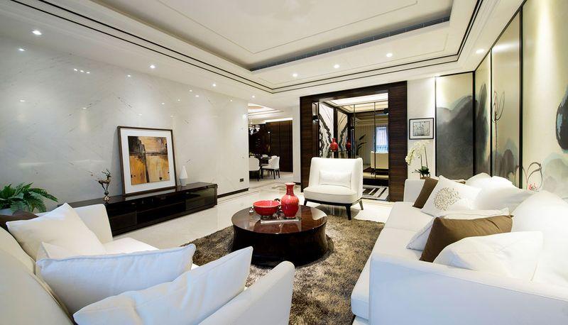 白色大理石的背景墙,延续着室内高级的画风,和沙发颜色相同,视觉一致。