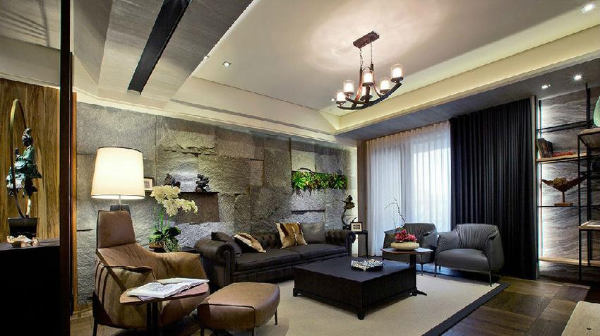 在东方风格的基调之下,选搭古典款式的沙发及灯具,展现中西合璧的混搭之美。