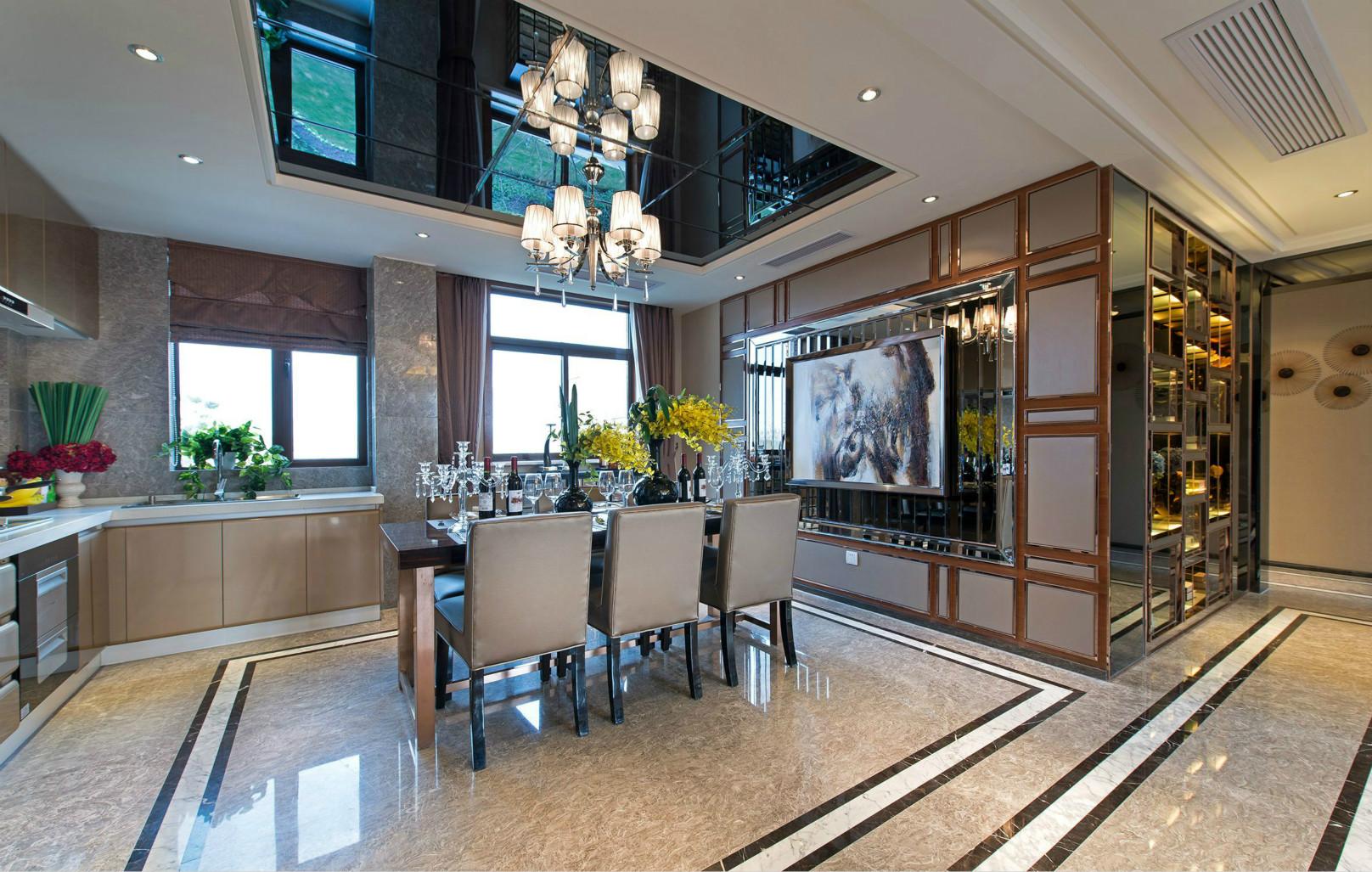 多功能的吧台区隔餐厨位置,让未来入住的女主人在整个下厨、备餐、上桌的动线一气呵成。