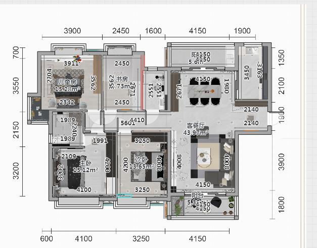 戶型端正,客厅空间开阔,采光通风性较好,客厅与餐厅相连,满足多种功能需要。