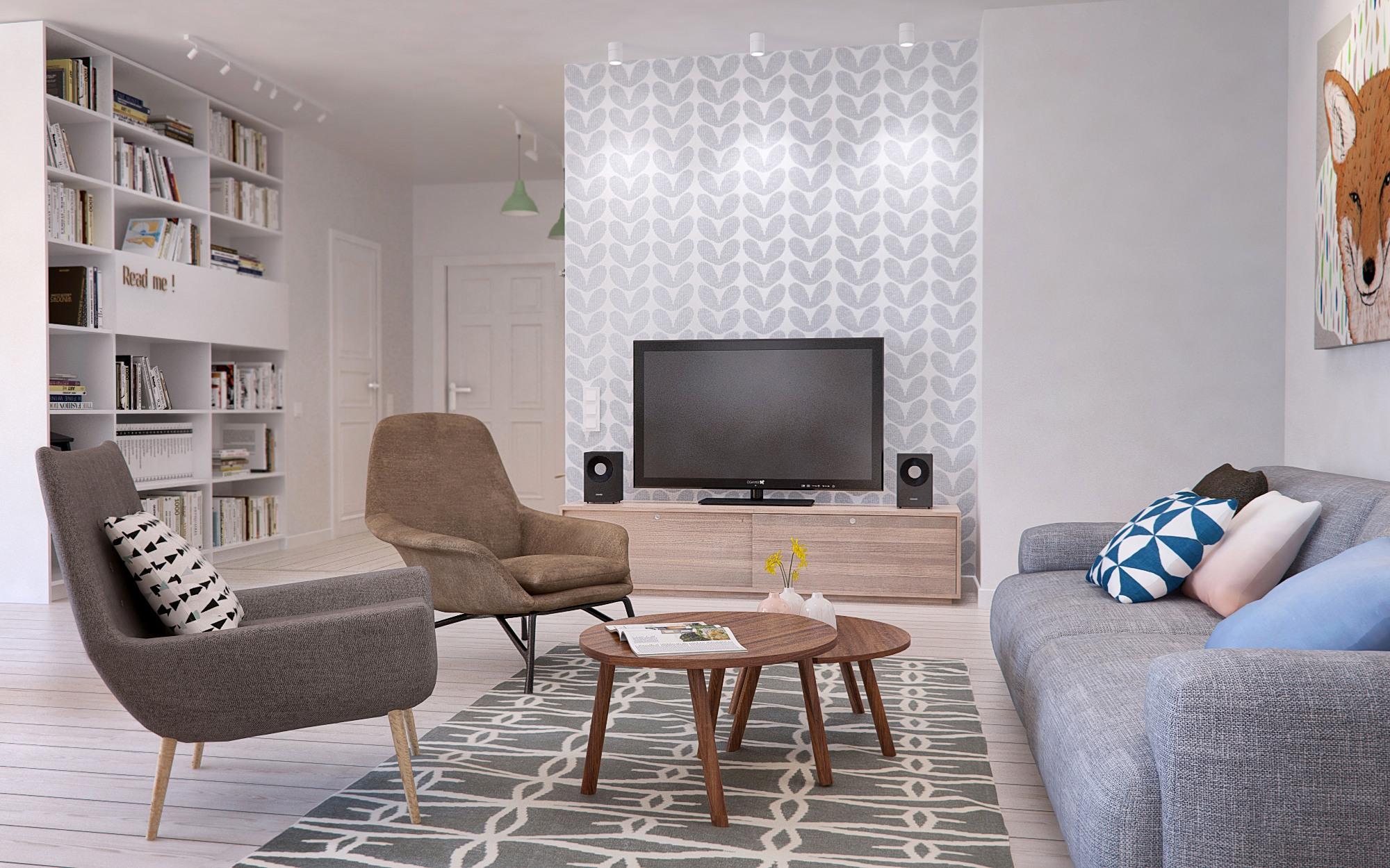 客厅整提装饰比较简单,木质茶几搭上浅灰色系的布艺沙发很是清新