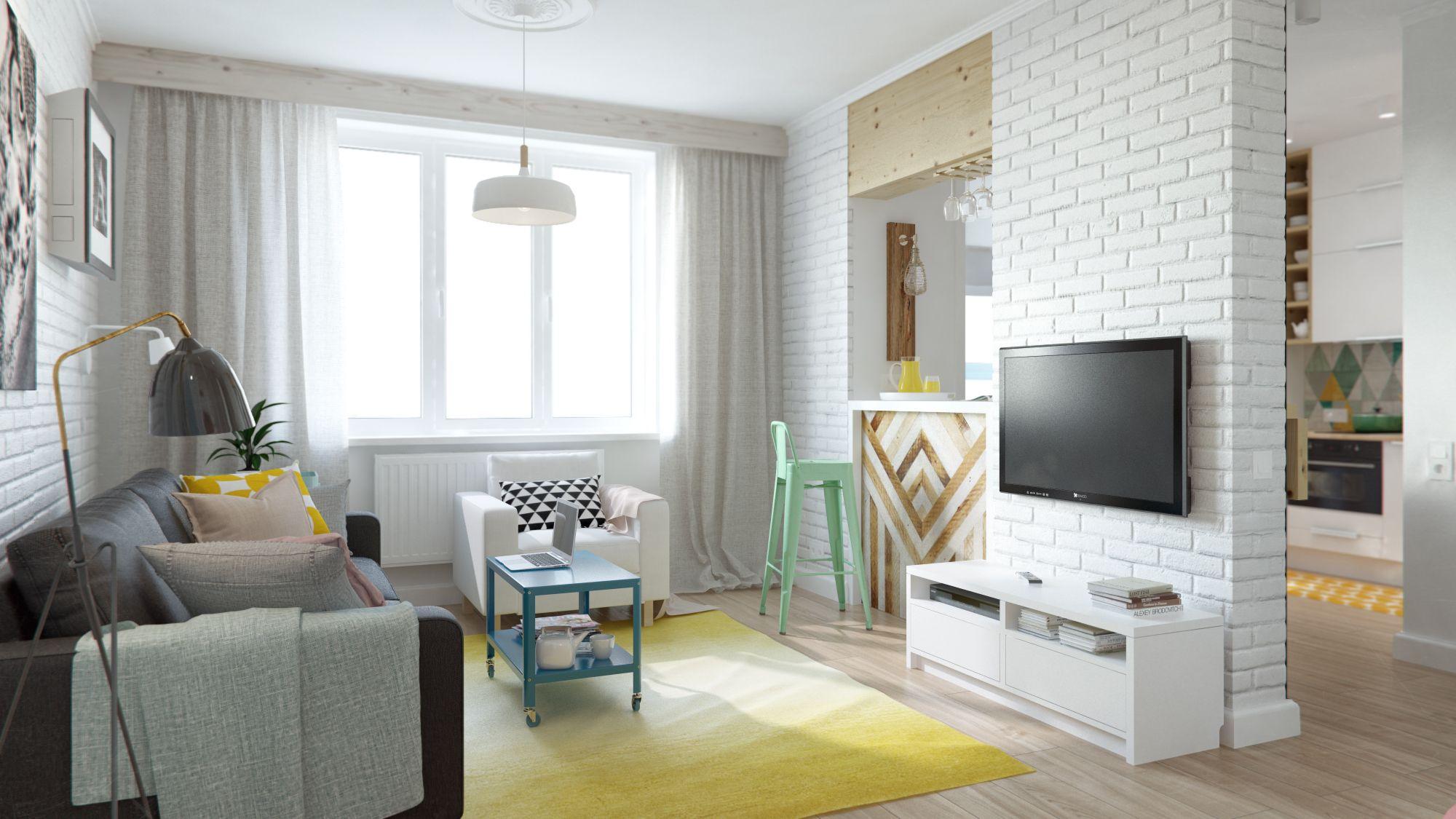 简约的吊灯很是时尚,电视旁边制作了一个小吧台,空间利用的恰当好处