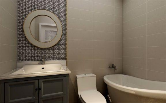 圆形镜子设计更具艺术感,马赛克墙面让空间更有层次,简洁、明快的设计为业主打造情深韵远的轻奢主义生活。
