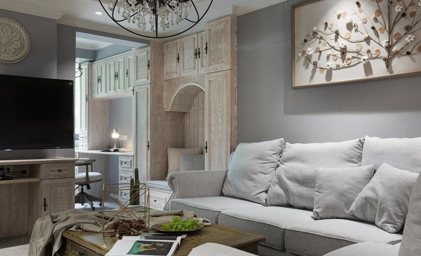 干净清爽的色调作为基调,运用棉麻质感的布艺、家具、挂画与鲜花绿植搭配组合得简约而舒适。