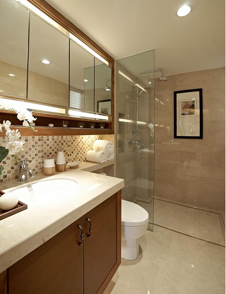 卫生间干湿分离设计,墙上隔层用来装饰也不错,镜柜应用满足收纳还能增大视觉效果,非常不错的设计。