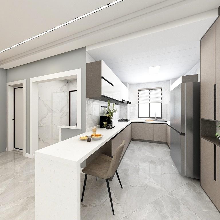 餐廚一體化設計,以現代優雅的櫥柜,延伸白色工作臺作為吧臺,營造出一種創意時尚的空間感。