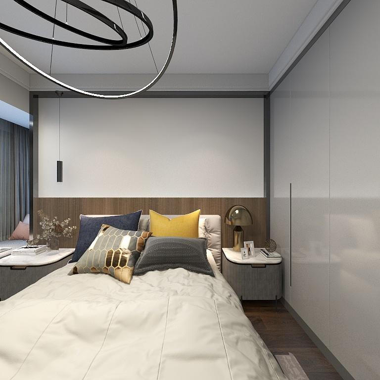 主臥采用現代白色與米色搭配,使得空間豐富生動,飄窗設計巧妙,拓展室內氛圍。