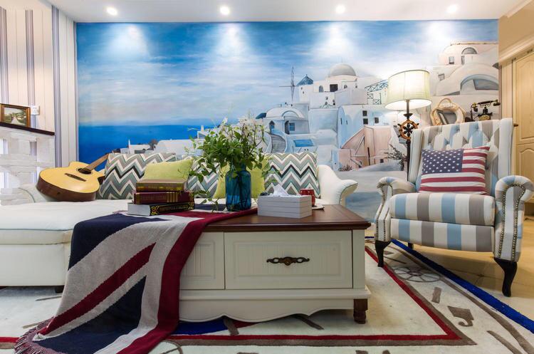 客厅以蓝色为主,营造一种浪漫温馨的场所