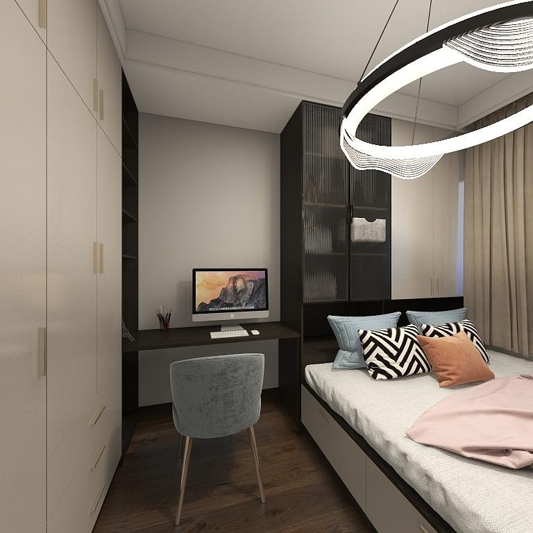 使用榻榻米打造侧卧使空间显得更为宽敞,搭配顶灯作为点缀,好看又温馨。