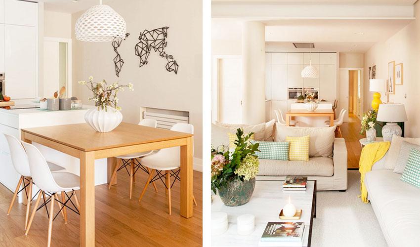 开放式的厨房和餐厅,一套原木色餐桌,配上温莎椅,就足以证明简约的风格特点。