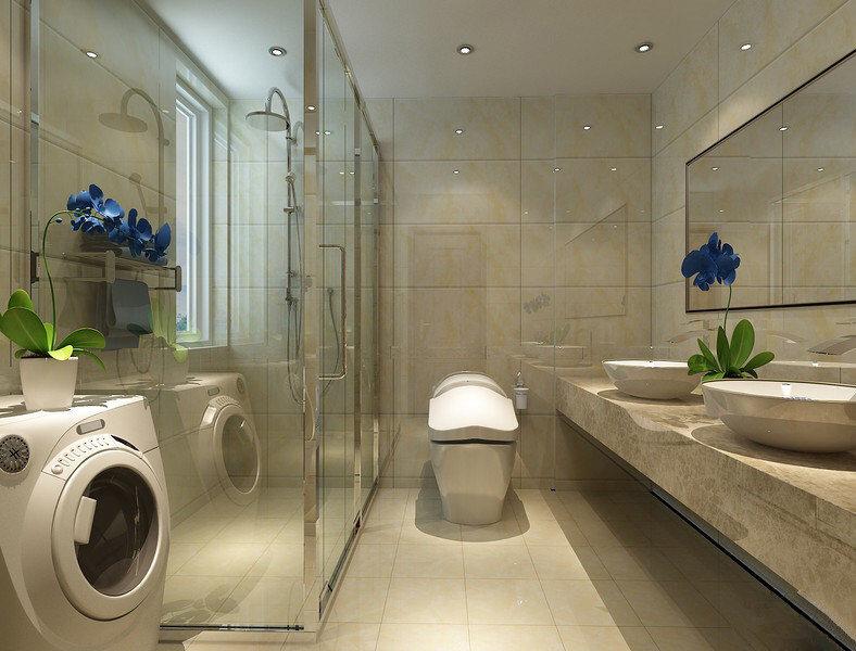 浅米色的大理石瓷砖铺陈了整个卫浴空间,材质与色调的刚柔并济,利落简约的展现,使得空间整洁明快温馨