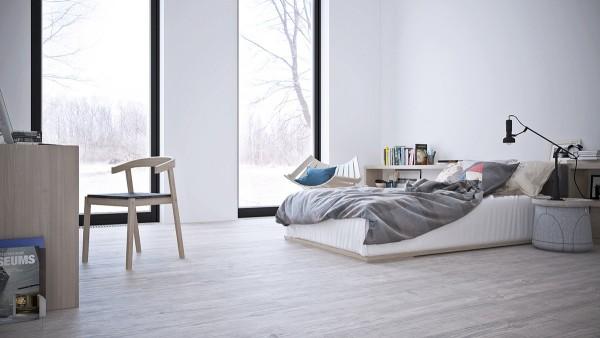 卧室内部的摆设简单,大部分空间留出来,就像一张照片大部分是留白一样。