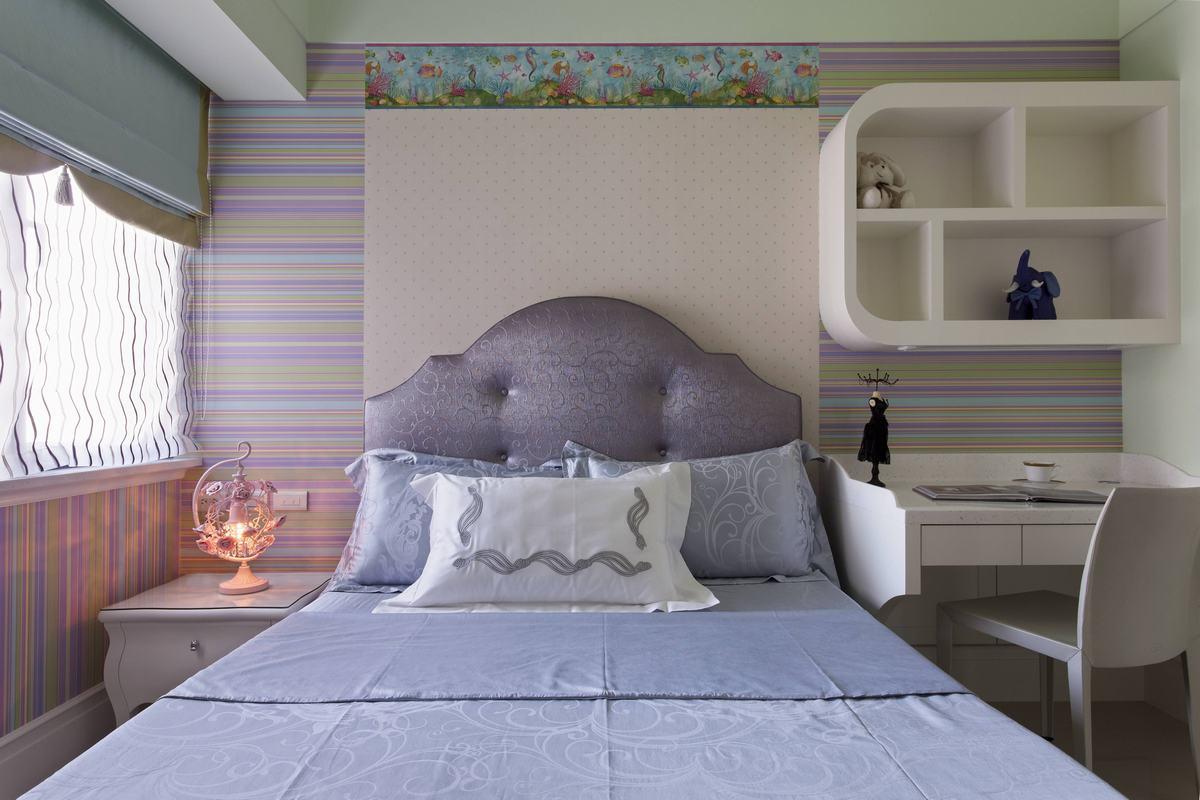 三种不同主题的卧室设计,体现了居室主人不拘一格的特色,淡紫色色调搭配,让整个空间散发着一种浪漫的感觉