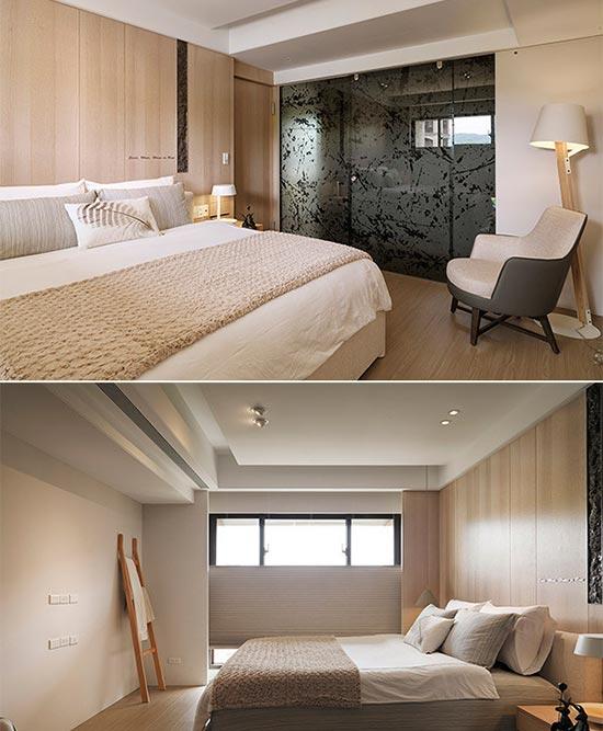 浅木色床头主牆与大面留白的剔透日光,共筑干净纯粹的无印生活。